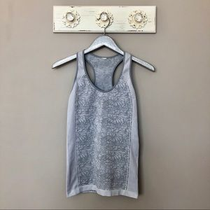 Fabletics   Gray Form Fitting Racerback Tank Top